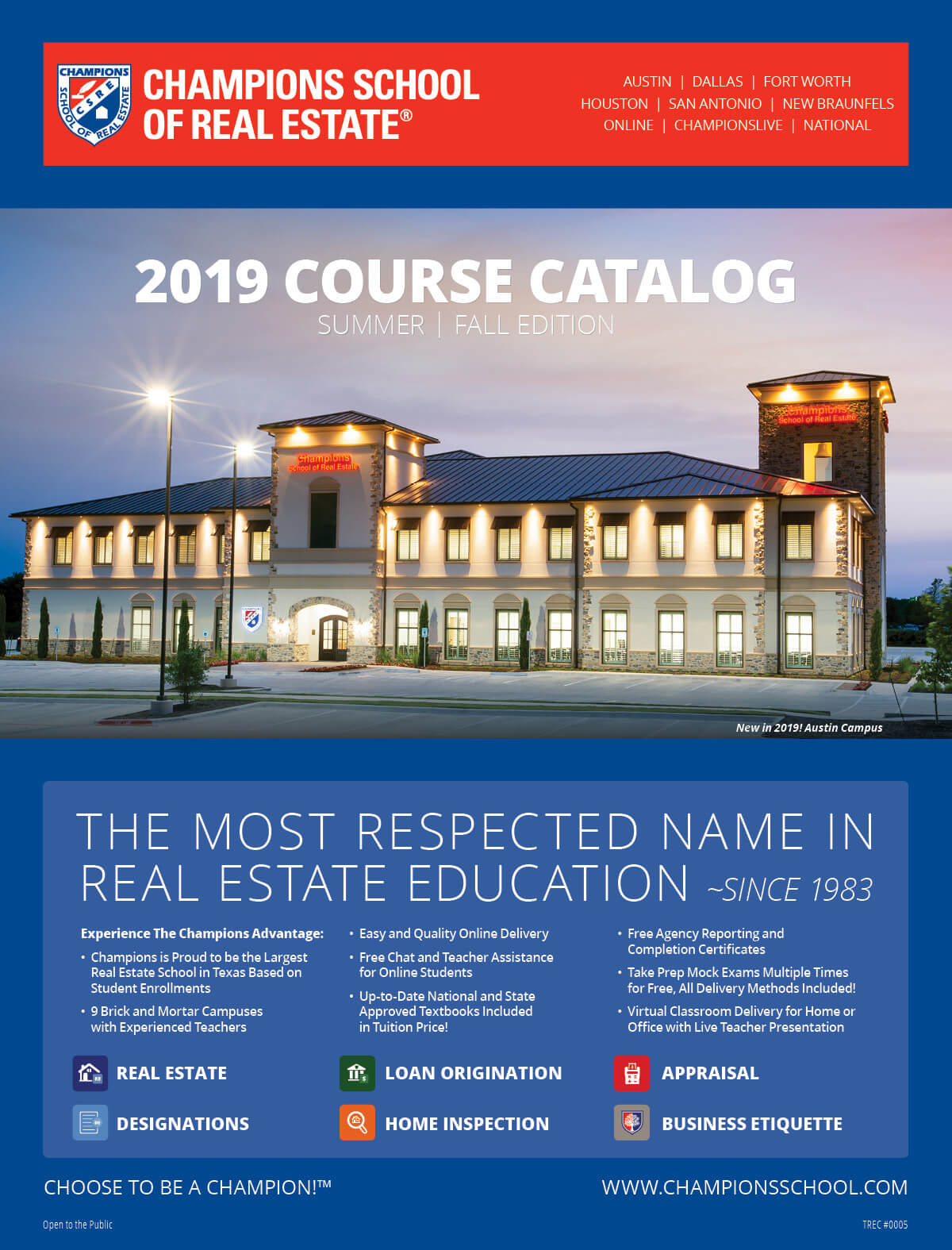 Champions School of Real Estate 2019 Course Catalog Cover